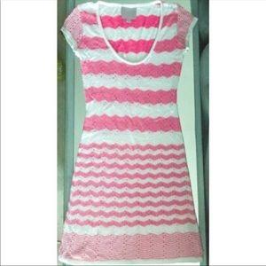Romeo & Juliet Pink & White Knit Mini Day Dress